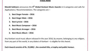 Press Release - 9TH GLOBAL KONKANI MUSIC Awards